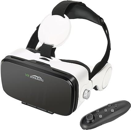 AOGUERBE Lunettes 3D VR, Casques de Réalité Virtuelle avec Bluetooth Télécommande Headset Box pour VR Jeux et Films 3D Compatible avec iPhone X 88