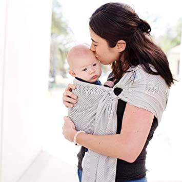 Baby Ring Sling Carrier Blue and White Polka Dot