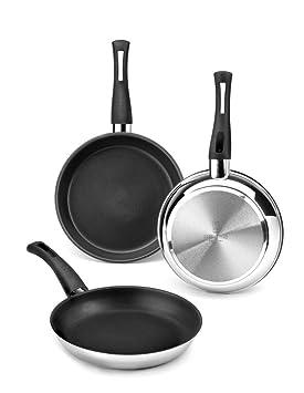 BRA Elite - Set de 3 sartenes, 18 cm, 22 cm y 26 cm, acero inoxidable 18/10, con antiadherente Teflon Platinum Plus: Amazon.es: Hogar