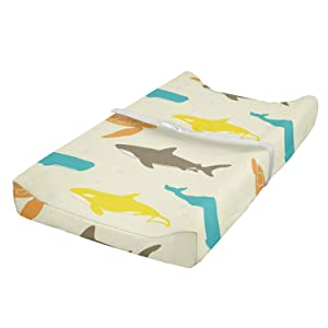 Ambesonne Animal Baby Pad Cover, Pattern with Whale Shark and Turtle Aquarium Doodle Style Marine Life, Changing Table Topper Slipcover Soft & Gentle Printed Sheet, Ivory Taupe Peach