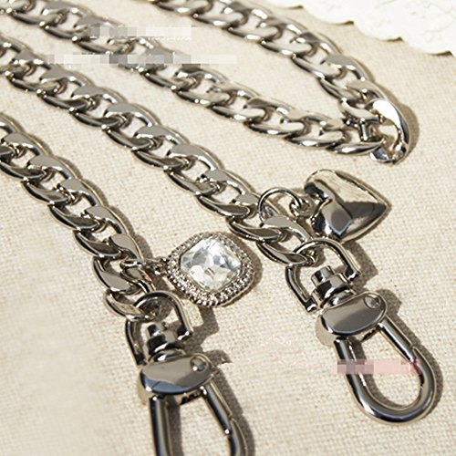 Width 9mm Metal Silvery Chain For Replacement Purse Strap / Handle DIY ( White Gem Peach Charms ) (Length 62 Inch)