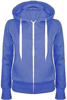 68f80cc01 Fashion Star Oops Outlet Ladies Plain Hoody Girls Zip Top Womens Hoodies  Sweatshirt Coat Jacket