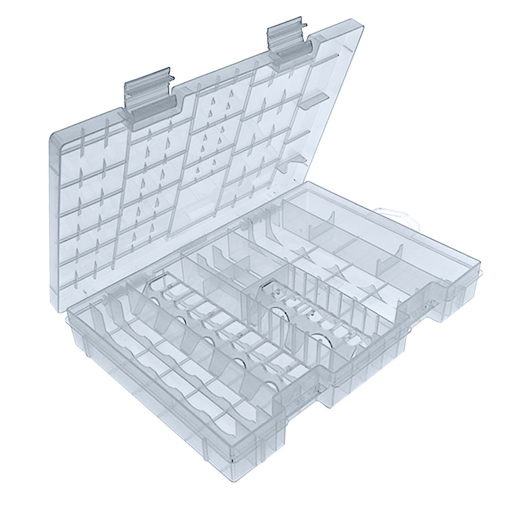 Battery Organizer Extra Larger Storage Case - 10.8 inches by 6.8 inches by 1.4 inches - Holds a Variety of Battery Types