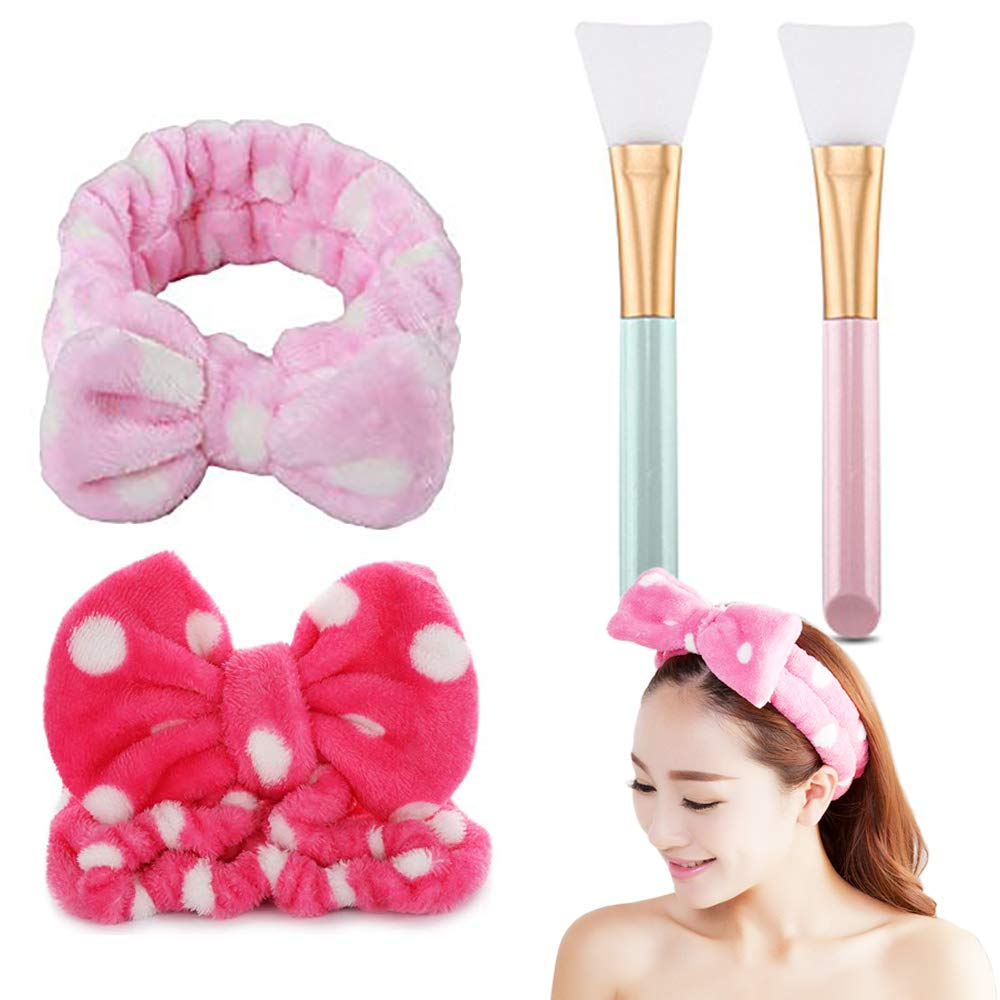 4 pc Bow Hair Band Women Elastic Headbands for Makeup Cosmetic Facial Shower Spa And Silicone Hairless Facial Mask Brush Makeup Applicator Brush Mask Mud Brush for DIY Facial Eye Mask