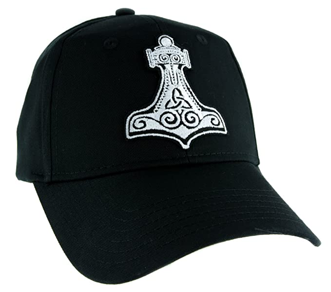Amazon.com  Mjolnir Thor s Hammer Norse Viking Symbol Hat Baseball ... ecdc6a85e15