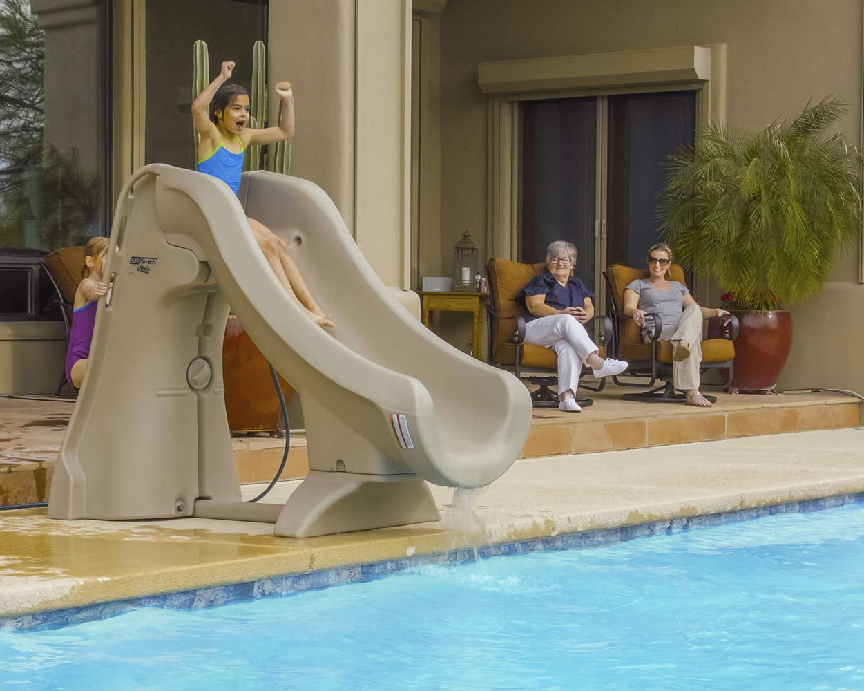 SR Smith 660-209-5820 SlideAway Removable In-Ground Pool Slide, Gray