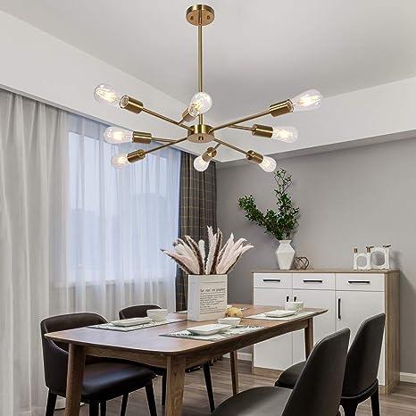 Mid Century Modern Industrial Chandelier, 8 Light (Bulb not Including)  Brushed Brass Finished Sputnik Chandelier Light Fixture for Dining Room ...