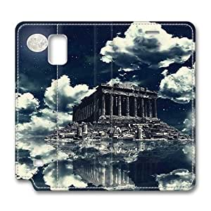 Brain114 Fashion Style Case Design Flip Folio PU Leather Cover Standup Cover Case with Akropolis-Wallpaper Pattern Skin for Samsung Galaxy Note 4