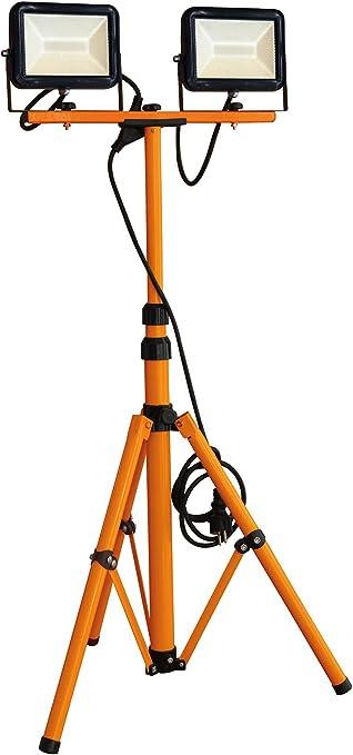 Tibelec 347760 Double projecteurs LED de chantier sur pied télescopique 2x1400 lumens, Plastique, 40 W, NoirOrange, 0m86 1m76