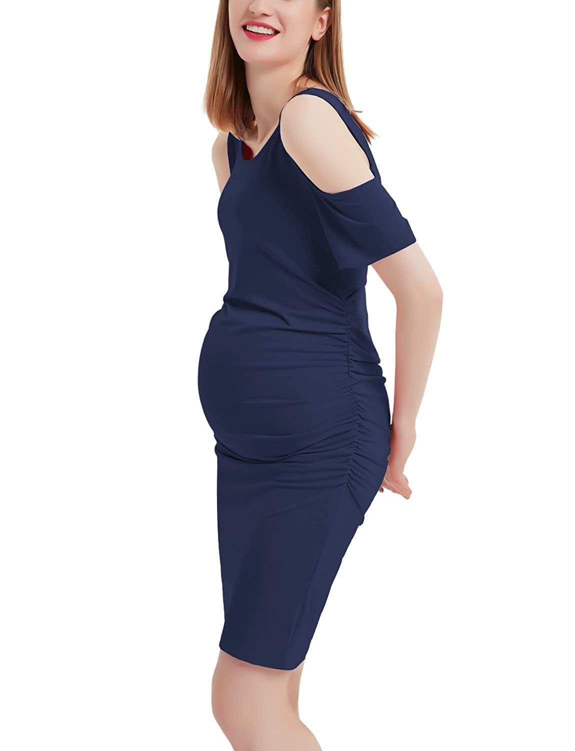 Navy bluee GINKANA Cold Shoulder Maternity Bodycon Dress Casual Ruched Side Knee Length Pregnancy Dress Clothes