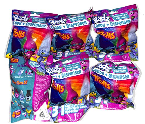 Radz 3 in 1 Trolls 6 Blind Bags candy,dispenser,mini poster
