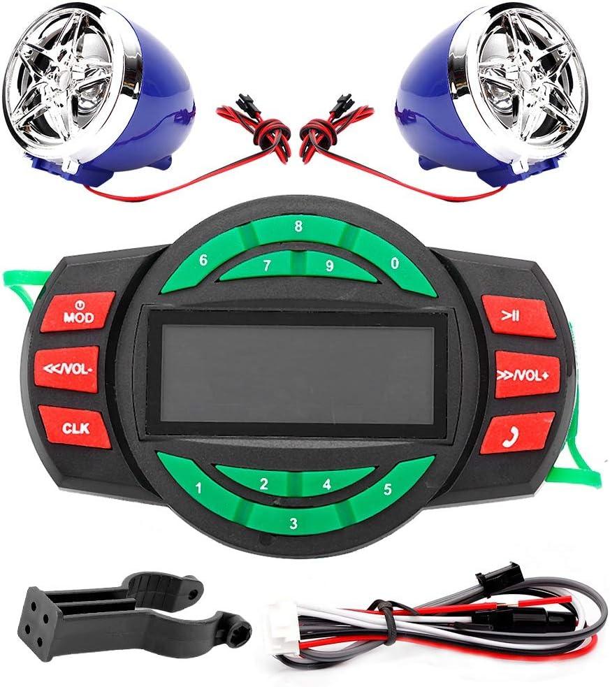 Moto Reproductor de MP3 BT, Fydun LCD resistente al agua Reproductor de MP3 para motocicleta BT Radio FM Altavoz con soporte de carga del teléfono Soporte USB Reproducción USB