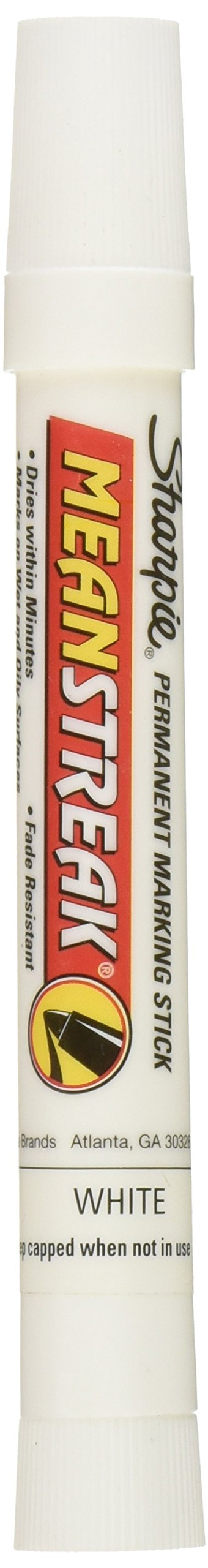 Sharpie Mean Streak Permanent Marking Stick, Bullet Tip, White (Pack of 12) - 85018