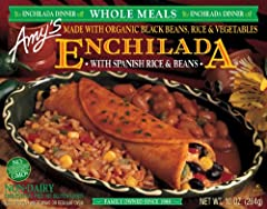 Amy's® Enchilada with Spanish Rice & Beans.Enchilada dinner.Whole meals.Made with organic black beans, rice & vegetables.No GMOs.No bioengineered ingredients.Dairy free.Cholesterol free.Gluten free.Family owned since 1988.