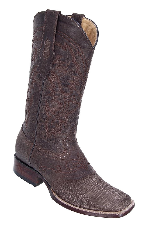 Genuine LIZARD DISTRESSED BROWN WIDE SQUARE Toe Los Altos Men's Western Cowboy Boot 8210735
