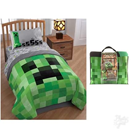 minecraft kids 4pc bedding set with comforter sheets pillow case and bonus tote - Minecraft Bedding Set