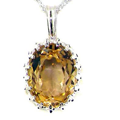 Luxury Ladies Solid 925 Sterling Silver Ornate 16x12mm Citrine Pendant Necklace yoFcw