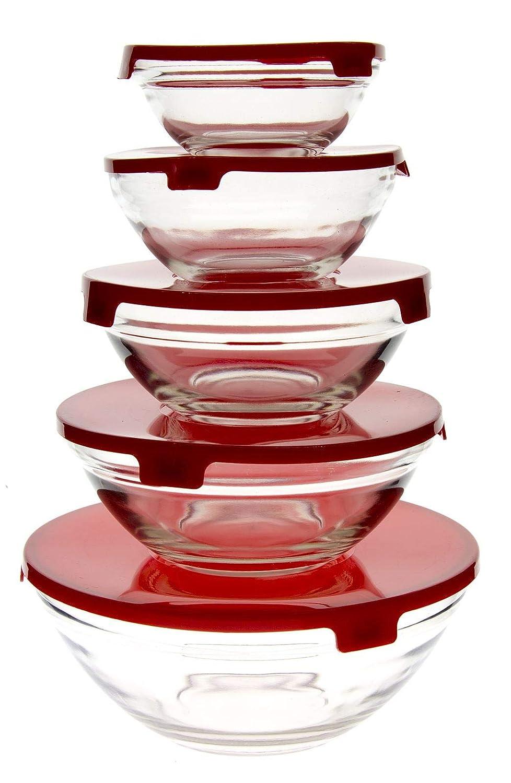 5/grandeurs diff/érentes Lot de 5/bols de verre transparent avec couvercle de plastique r/écipients pour aliments