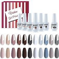 Vishine Gel Polish Nail Art Soak-off UV LED Nail Gel Polish Diy Manicure Brown Nude Gray Collection Set of 12 Colors 8ml