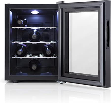 Orbegozo VT 1220 - Vinoteca 12 botellas, 33 l, 70 W, LED, display digital, panel de control táctil, 3 estantes extraíbles cromados
