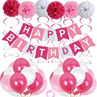 Birthday Decorations, Birthday Party Supplies for girl and women include 62Pcs Banner Rose and Pink Balloons for 7th 10th 13th 16th 18th 19th 20th 21st 22nd 24th 25th 30th 40th 50th Party Supplies
