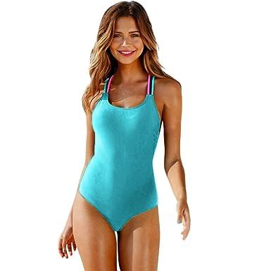 b05d3baba4 OHQ Bikini Maillot De Bain Noir Maillots Push Up Rembourre Taille Haute  Bandeau Femme One-