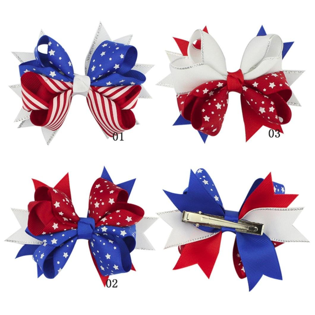 Lurryly Baby Girls Toddler Infant Kids Star Print 4th of July Hairpin Headband Clip Accessories (Blue)