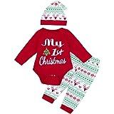 K-youth Ropa Bebe Niño Otoño Invierno Infantil Recien Nacido Body Bebé Niña Manga Larga Blusas Bebé Mono Navidad Letra Mameluco Pantalone Sombrero 3pcs Trajes Conjuntos 0-24 Mes