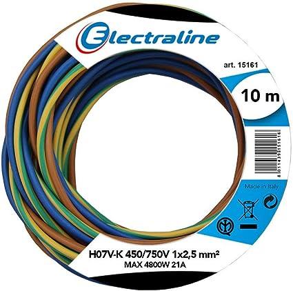 Couleur bleu clair 10 m//15 m//20 m//25 m//30 m//35 m//40 m//45 m//50 m//55 m//60 m au choix C/âble conducteur rigide en PVC H07V-U 2,5 mm2