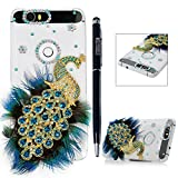 Nexus 6P - MOLLYCOOCLE® Luxury 3D Handmade Crystal Heart Rhinestone Bling with Diamond Peacock Clear Transparent PC Case Hard Cover for Google Nexus 6P