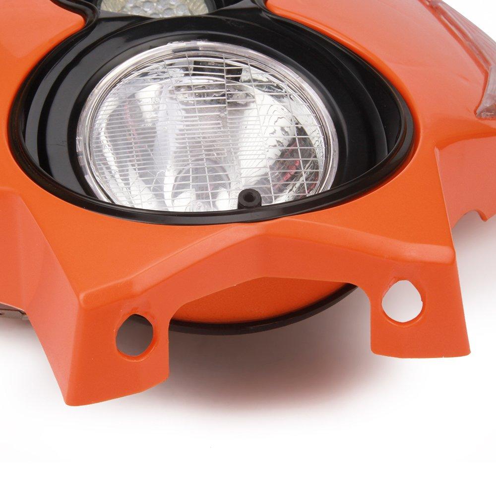 /bianco Jfgracing universale H3/12/V 35/W alogena faro LED moto doppia testa della lampada con LED accensione luci per Dirt Pit Bike super Motard/