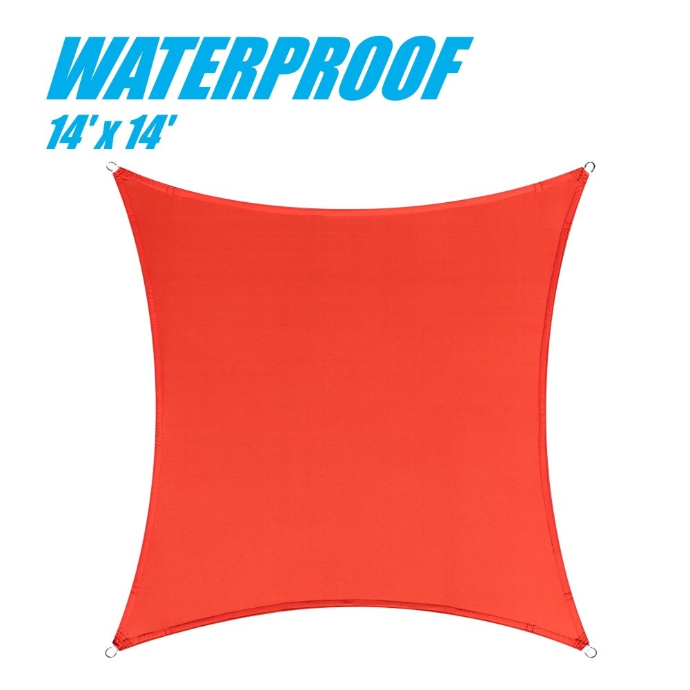ColourTree 100% Blockage Waterproof 14' x 14' Sun Shade Sail Canopy  Square Red - Commercial Standard Heavy Duty - 220 GSM - 4 Years Warranty