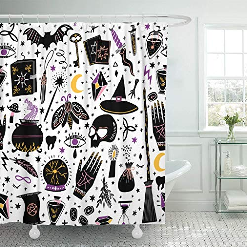 2019 new fashion Shower Curtain Pattern Magic Witch Witchcraft Alchemy Black Bohemian Drawing Drawn Polyester Fabric 60 x 72 inches Set with Hooks - Bronze New Alchemy