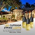 JUSLIT 48 Ft Commercial Grade Waterproof Outdoor LED String Lights, 15 hanging sockets, 2W vintage bulb (1 spare), connectable, for porch, backyard, garden, deck