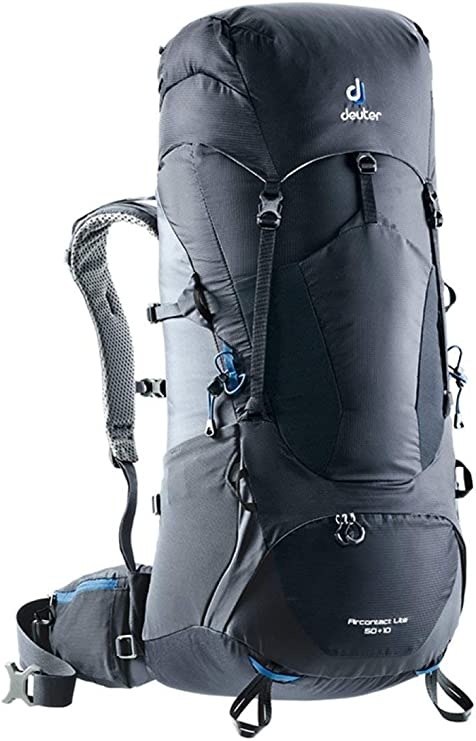 A close-up photo of a bulky Deuter Aircontact Lite backpack in color black.