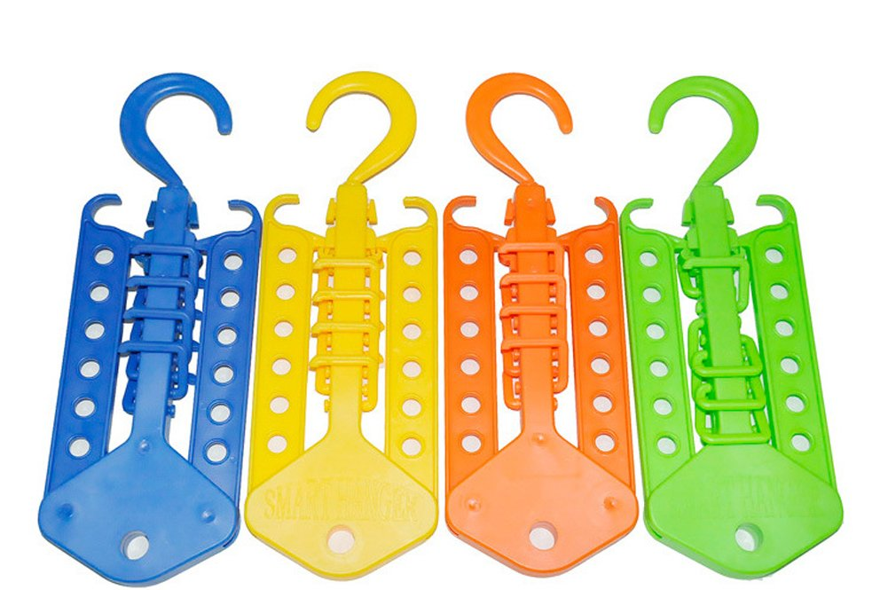 4 Pack Multifunction Magic Foldable Collapsible Clothes Hanger Home Camping Drying/Storage Hanging Clothes Rack for Clothes Shirts Sweaters Dress Hanger Hook Drying Rack (Multicolor) ISHOP-Tech