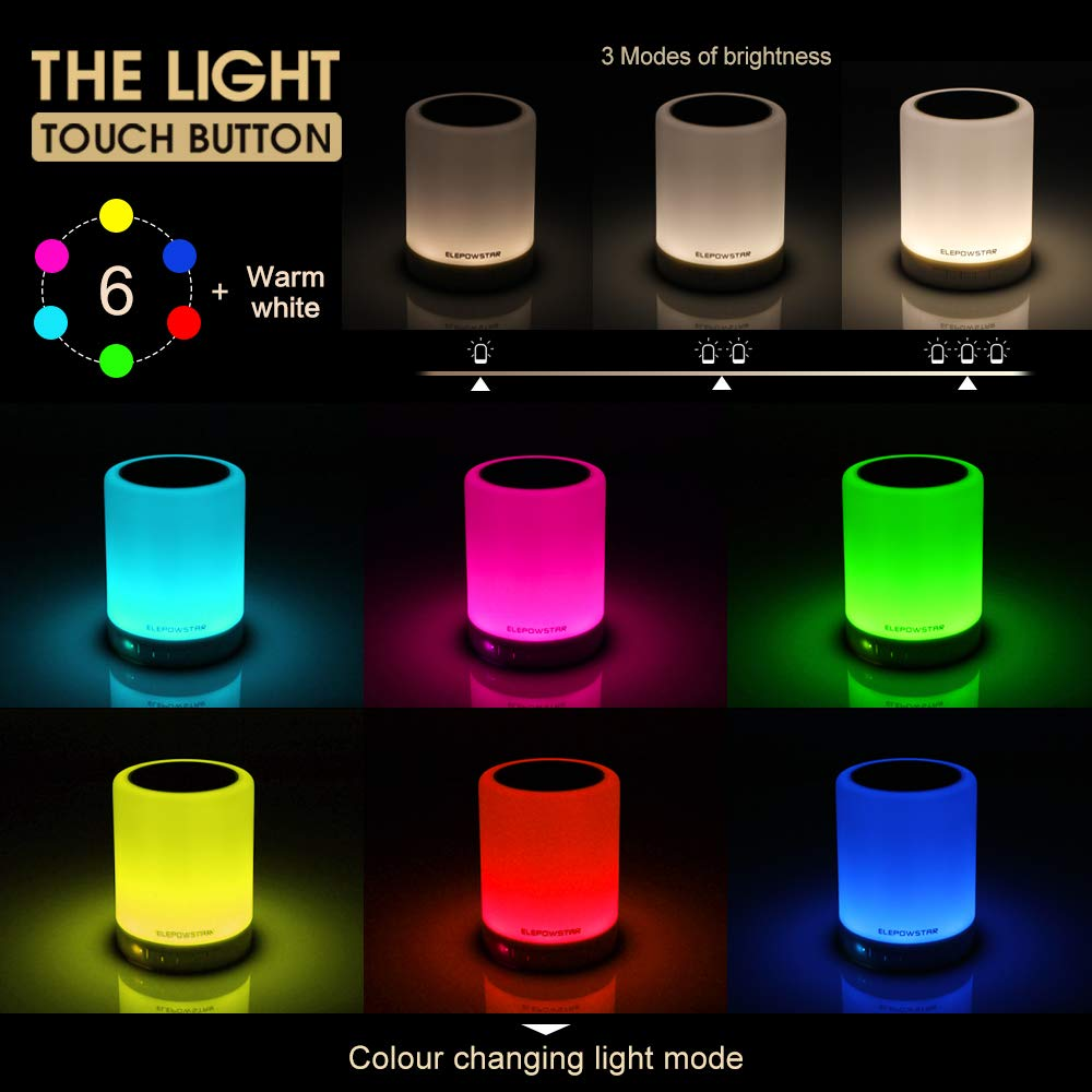 Bluetooth Music Speaker Smart Touch Night Light Color Changing High Power Led Mood Lamp Portable Multifunctional Dimmable Warm White Muisc Player Hands Free With Tf