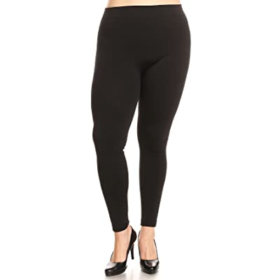 Attract Power Women's Plus Size High Waist Full Length Leggings (XX-Large, Black) at Amazon Women's Clothing store