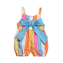 BOBORA Baby Girl Rainbow Bow Straps Overalls Jumpsuit Summer Clothes
