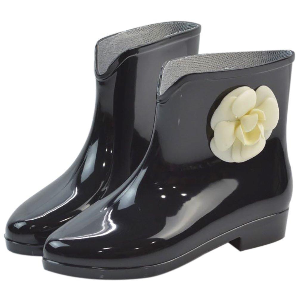 Women's Waterproof Rubber Jelly Anti-Slip Rain Boot Buckle Ankle High Rain Shoes B01J7EW9QC 6.5 B(M) US|Black Flower-1