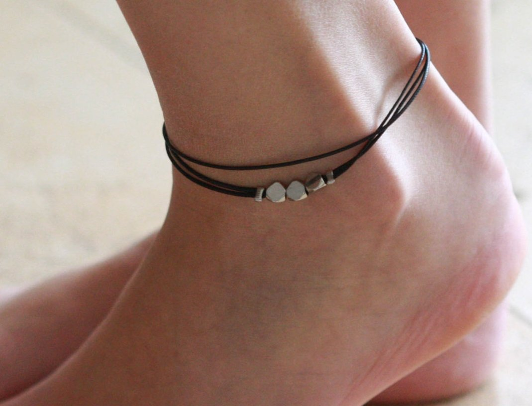 Handmade Black Anklet For Women Set With 3 Silver Plated Beads By Galis Jewelry - Black Ankle Bracelet For Women - Beaded Anklet