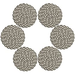 Placemts,Topotdor 15-Inch Round Placemat Braided Woven PlacematsSet of 6 (Braided Cream Brown)