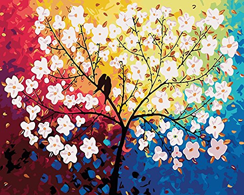 Komking DIY Painting Paint by Numbers Kit for Adults Beginner, Two Birds Standing on The Tree Painting on Canvas 16x20inch