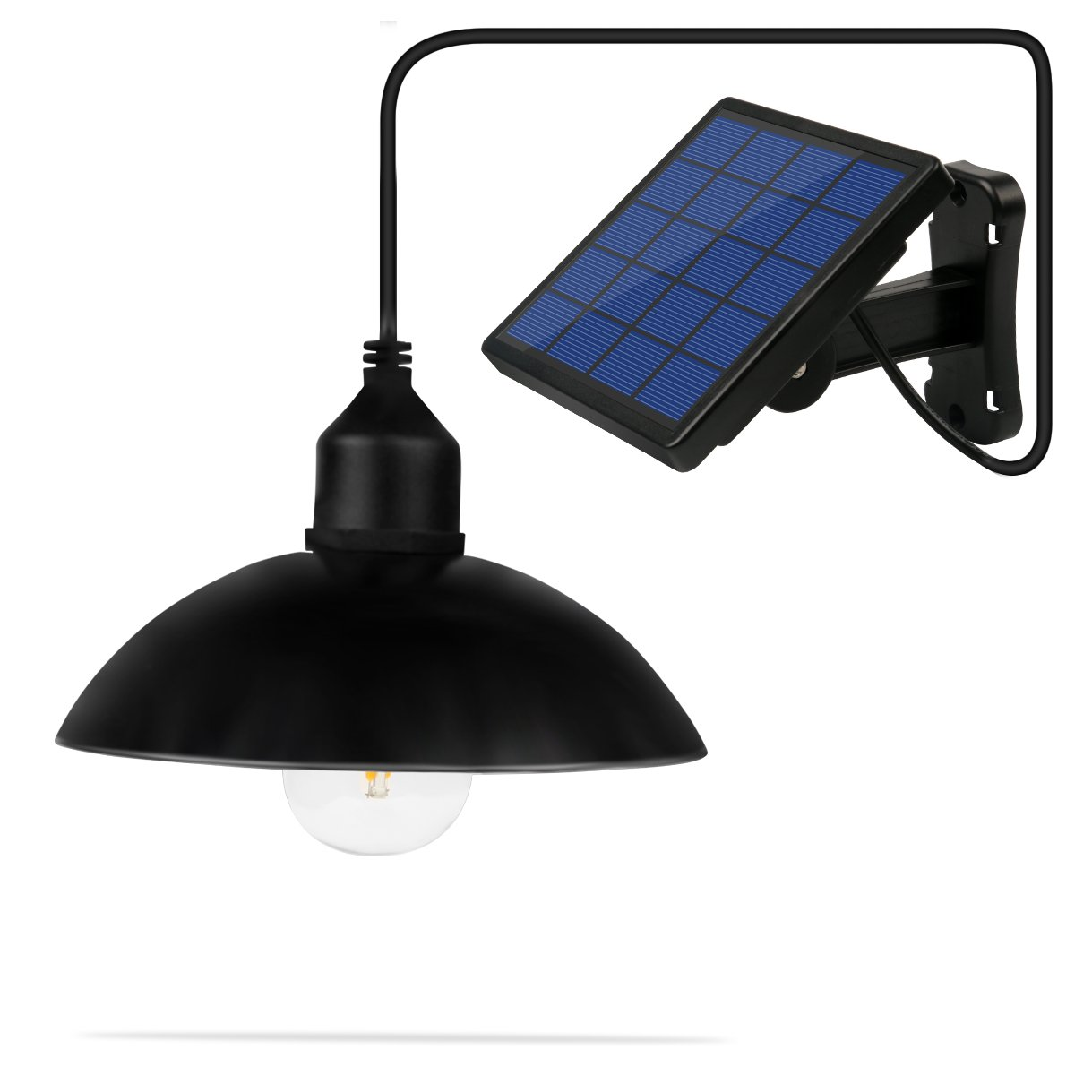 NINGZEXIN Metal Shade Outdoor Hanging solar powered Pendant Light E27 Industrial Edison Bulb LED Shed Light Black Pendant Lamp With Changeable Solar Panel for Garden Yard Patio Balcony Home Decorate by NINGZEXIN