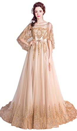 Onlybridal Prom Dress Boutiques Womens Scoop Neck Sleeveless Gold Appliques Dress With Jacket