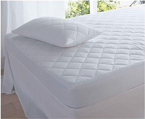 bianco Coprimaterasso trapuntato in policotone Cotone Policotone per letto singolo matrimoniale king e super king 30 cm mTextile Coppia di federe