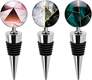 Soleebee3 Pack Decorative Wine Stoppers, Wine Bottle Stopper with Beautiful Art Glass,Beverage Bottle Stoppers For Gifts, Bar, Holiday Party, Wedding (Style G)