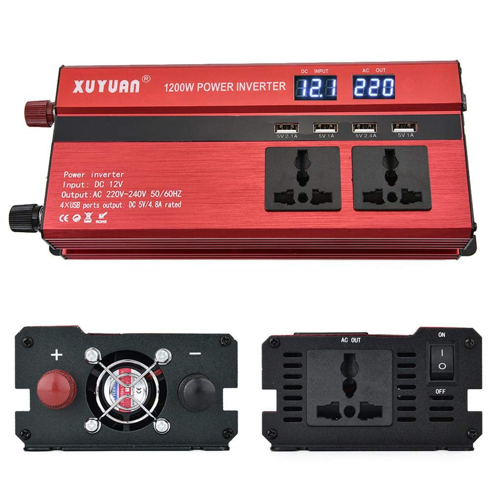 Aitoco auto Power inverter 1200 W DC 12 V a 220 V Trasformatore convertitore con 4 caricatore USB doppio display onda sinusoidale modificata accendisigari adattatore per smartphone, tablet, laptop, nebulizzatore