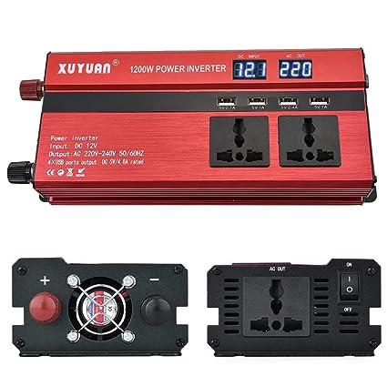 AITOCO - Convertidor de corriente para coche (1200 W, CC 12 V a 220