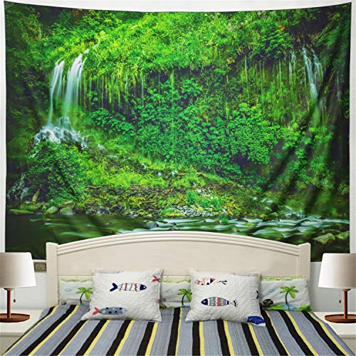 (Racunbula Tapestry Wall Tapestry Jungle and Streams Tapestry Wall Hanging Nature Green Tree Jungle Landscape Tapestry Mysterious Wall Tapestry for Bedroom Dorm)